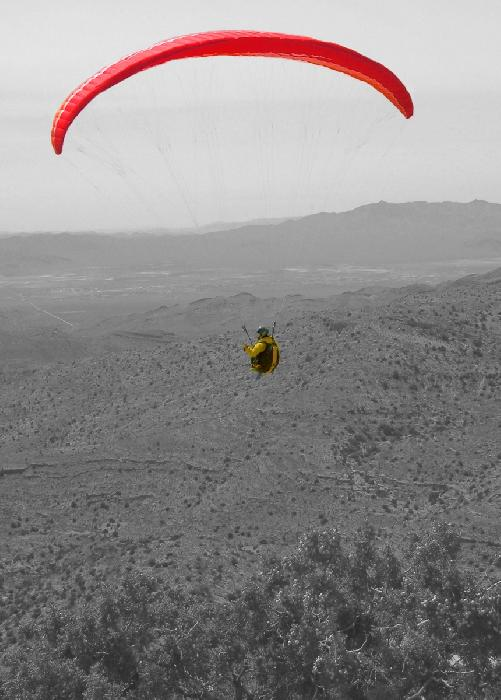 Paraglider Pilot Flying in Nevada