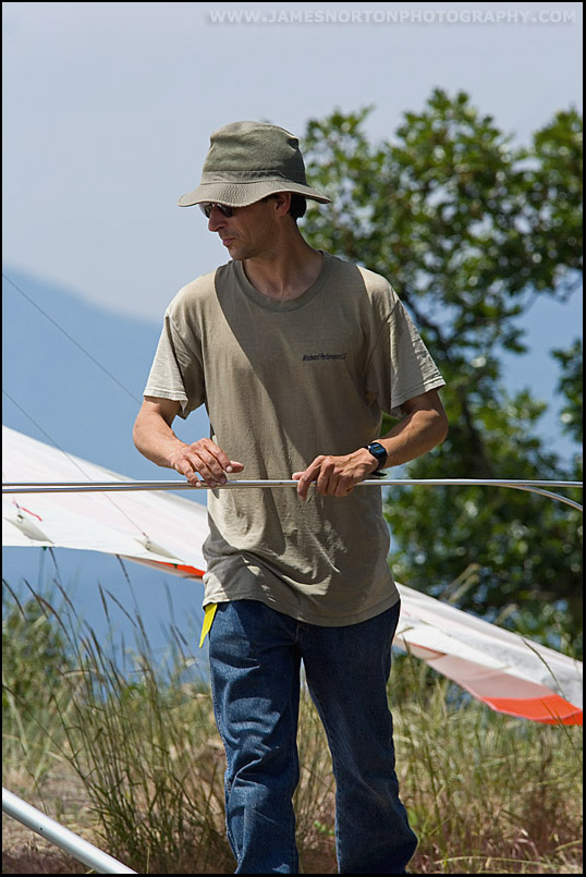 Hang Glider Pilot Setting Up Glider